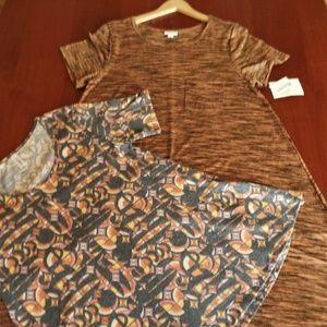 LULAROE! L- CARLY DRESS, M- PERFECT-T TOP